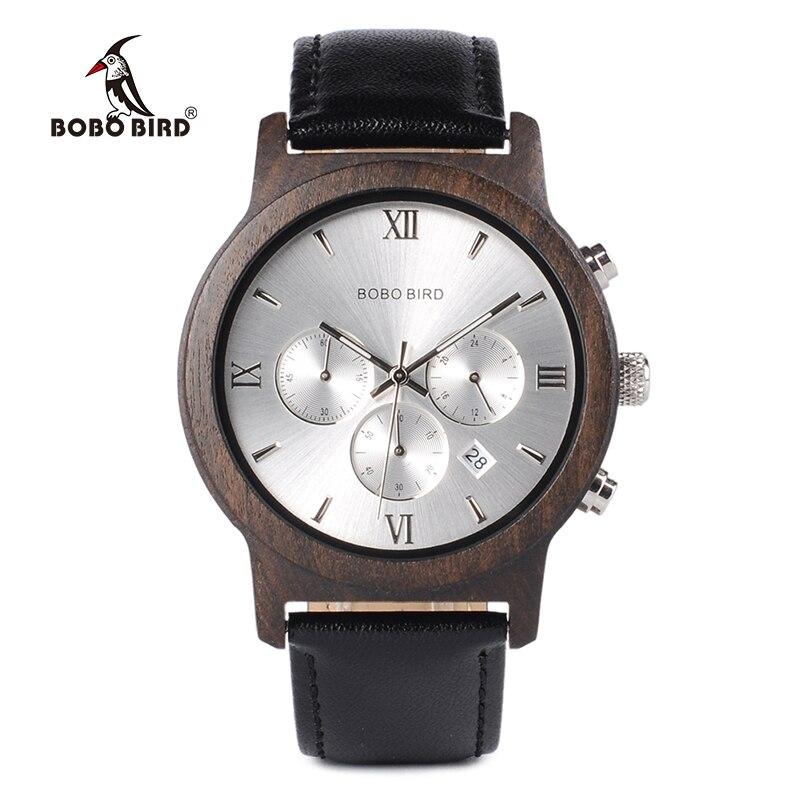 d3957c68532 BOBO PÁSSARO WP28 Chronograph Mens Relógios De Luxo Relógio de Quartzo com  Data de Exibição De Madeira em Caixa De Presente De Madeira