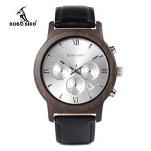 Bobo Vogel WP28 Houten Mannen Horloges Luxe Chronograaf Water Weerstand Quartz Horloge Datum Display Mannen Gift In Houten Gift doos