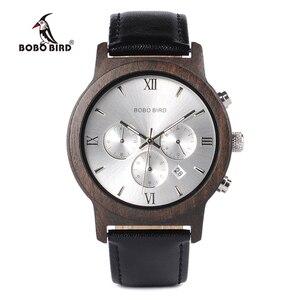 Image 1 - Bobo Vogel WP28 Houten Mannen Horloges Luxe Chronograaf Water Weerstand Quartz Horloge Datum Display Mannen Gift In Houten Gift doos