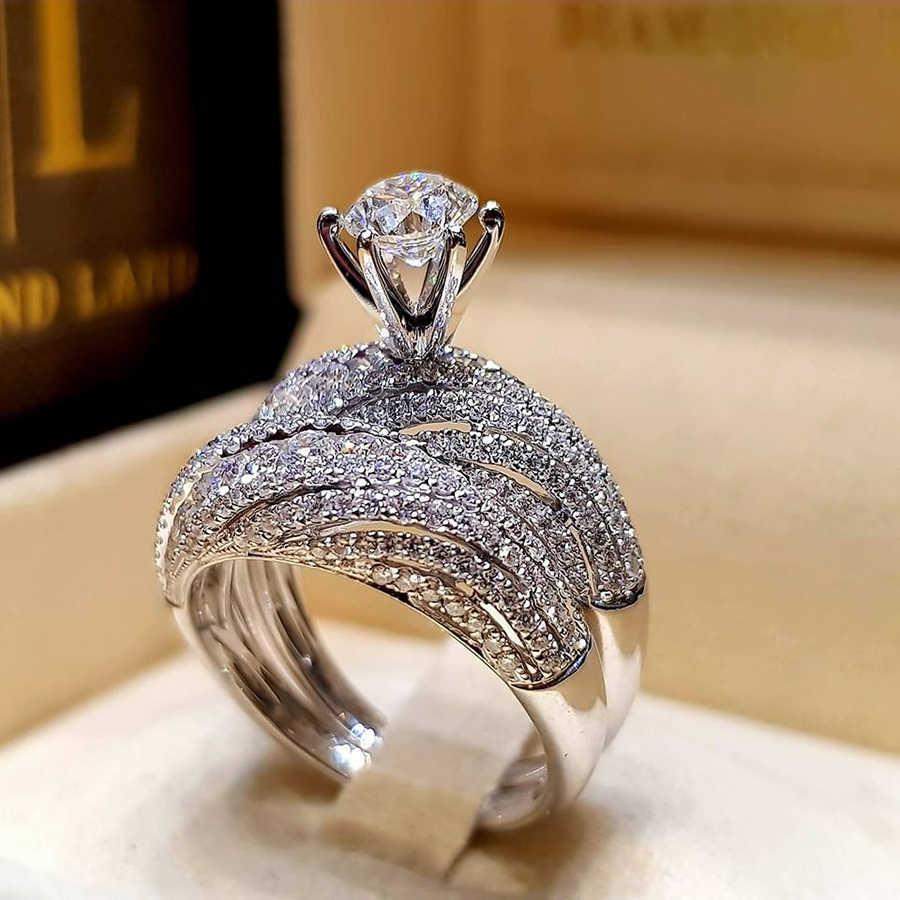 Anel de Casamento das mulheres Conjunto de Moda Bonito Feminino Rodada Coroa Anel de Zircão 925 Prata Anéis de Casamento Set Boho Anéis de Noivado Para mulheres