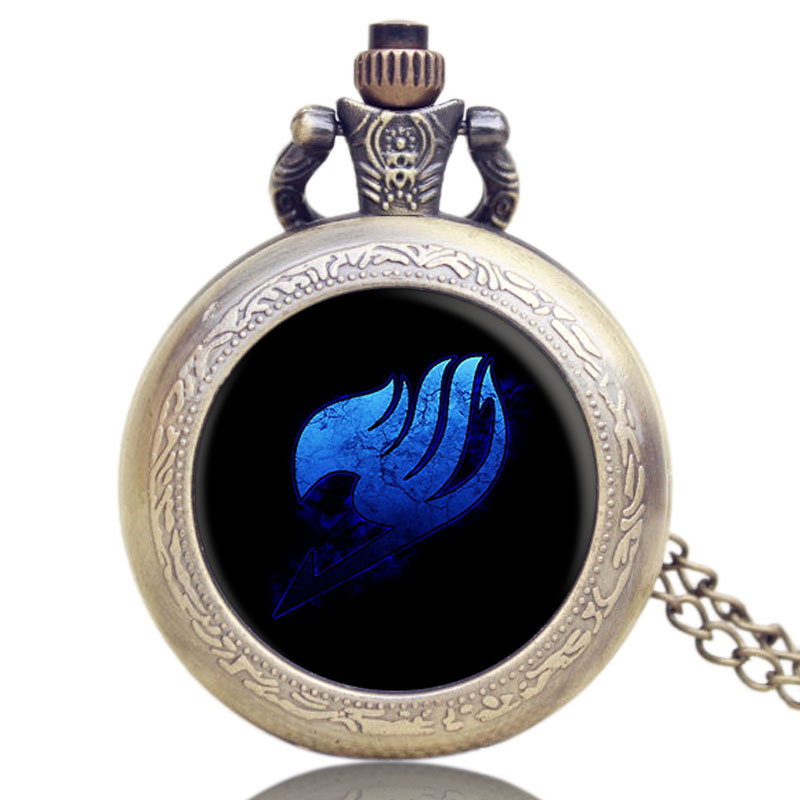Hot Japanese Fairy Tail Animation Extension Theme Cool Bronze Glass Dome Pocket Watch With Chain Necklace bronze color doctor who theme antique pocket watch with dr who symbols design glass dome pendant packing with gift box