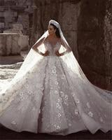 Dubai Luxury Wedding Dresses Unique Lace Party Dresses Luxury Cathedral Royal Train Lace Vestido De Noiva SWL014 Bridal Gown