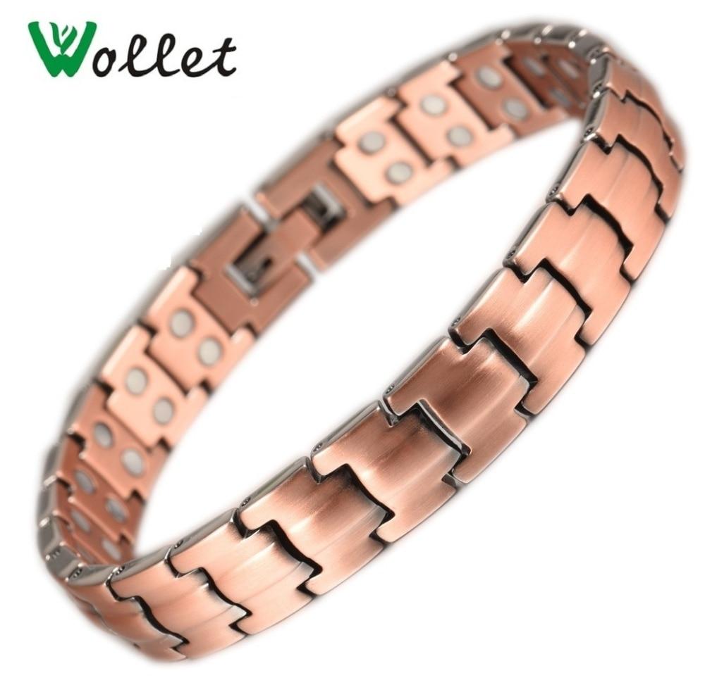 Inox Jewelry Lover Couple Copper Magnetic Bracelet Bangle for Women Men Anti Arthritis Health Energy Healing Two Row Magnet
