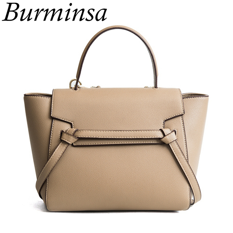 Burminsa Classic Belt Knot Tote Bags Women Messenger Bags Designer Handbags High Quality PU Leather Female Shoulder Bags 2018 classic black leather tote handbags embossed pu leather women bags shoulder handbags elegant