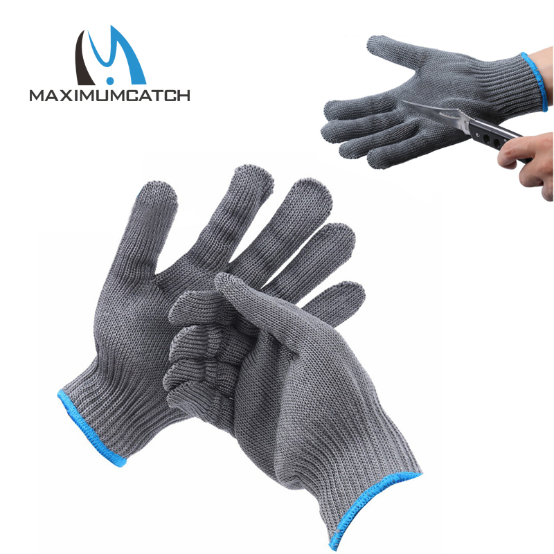 Maximumcatch 2pcs Fishing Fillet Gloves Cut Resistant Thread Weave Tool Gloves Fishing Fillet Filleting Protection Knife