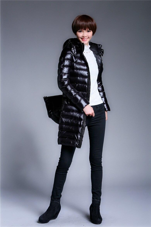 quality design 918c9 a5877 US $156.6 |Damen schwarz glänzende lange daunenjacke, warmen mantel.  bekleidung, Verpassen kleidungsstück. in Damen schwarz glänzende lange ...