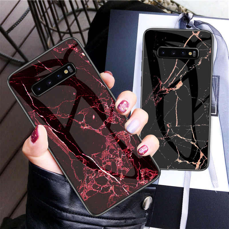 Luxury Marble Tempered Glass Phone Case For Samsung Galaxy S10 Lite S8 S9 Plus S7 edge Cover For Samsung Note 9 8 Coque Fundas-in Fitted Cases from Cellphones & Telecommunications