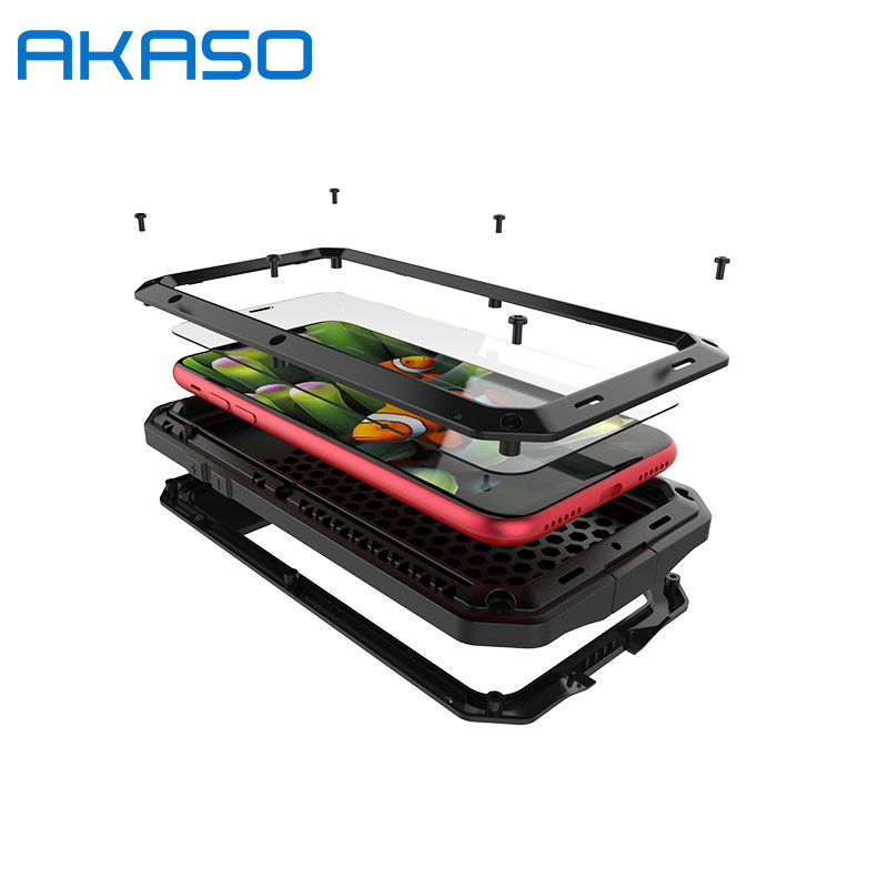AKASO Aluminum Metal Shockproof Life Water Proof For IPhone X Gorilla Glass Heavy Duty Protection Case