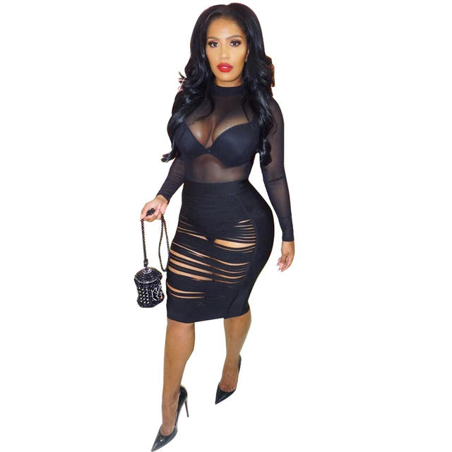 445d4f0fe31 Sexy Bandage Bodycon 2 Piece Dress Women Ribbed Sheer Mesh Dress Female  Long Sleeves Hollow Out Night Club Party Dress Black