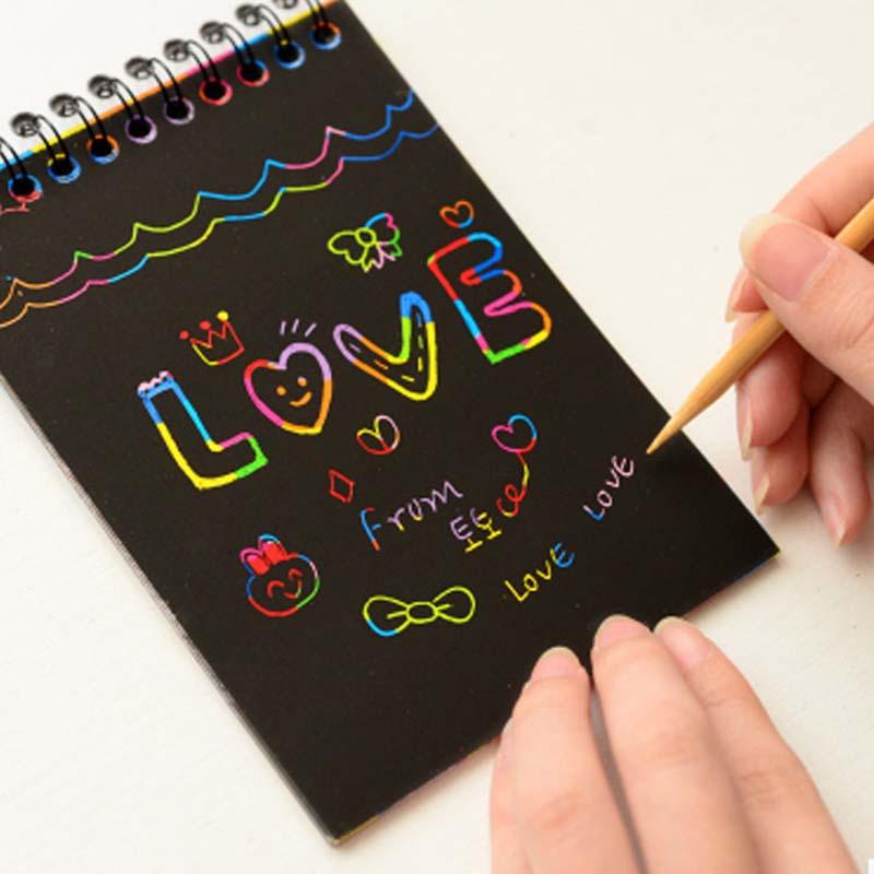 New Colorful Paper DIY Kids Educational Toys Fun Doodling Scratch Children Graffiti Colorful Black Wood Stick Kids Crafts -20(China)