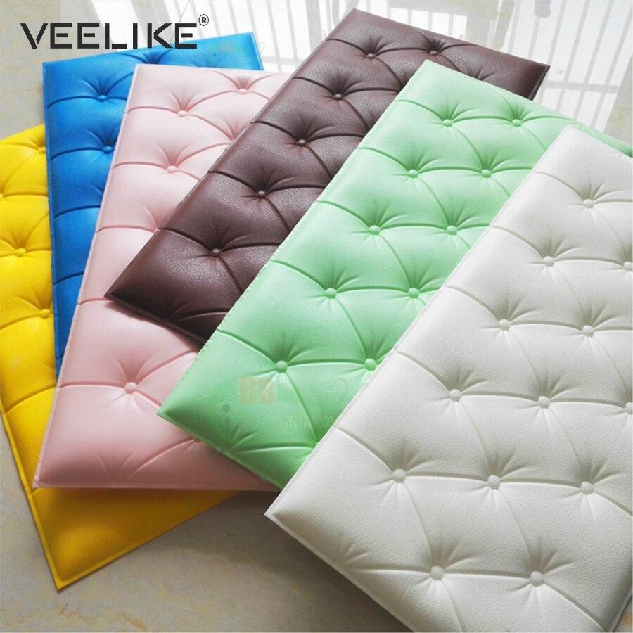 3D de imitación de cuero de espuma de PE impermeable Auto adhesivo papel pintado para sala de niños habitación niños dormitorio vivero Decor 3D pared de papel