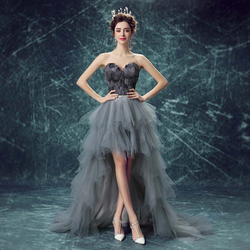 75e3ca50c1c6 Unique Grey Feathers High-Low Prom Dresses 2017 New Sexy Off Shoulder Short  Front Back Long Chic Banquet Party Cocktail Dress