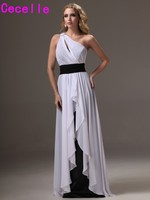 Black And White Long Bridesmaid Dresses One Shoulder Ruffles A Line Floor Length Beach Country Formal