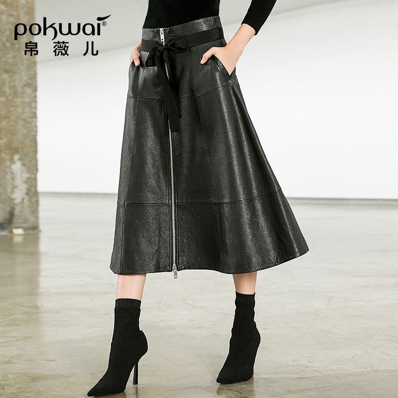 POKWAI Leather Skirt Female 2018 New Bow Tie With Stitching In The Long Paragraph Wild Sheep Skin A Word Skirt