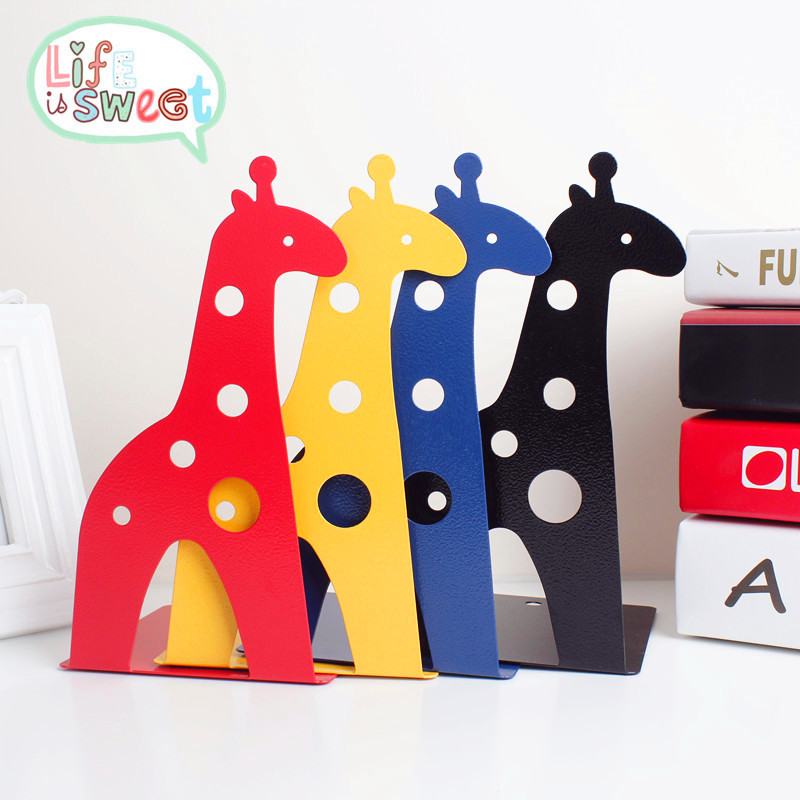 New 2 Pcs/Set Cute Giraffe And Elephant Book Stand Cartoon Metal Bookend Reading Book Holder Shelf