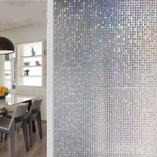 Static Cling Window Privacy Film Mosaic Square Non-Adhesive Heat Control Anti UV Glass Sticker Office Bathroom Decorative