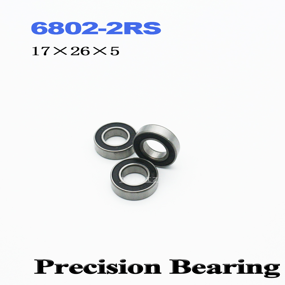 6802 2RS <font><b>Bearing</b></font> 15*24*5 mm ABEC-1 Metric Thin Section 61802RS 6802 RS Ball <font><b>Bearings</b></font> <font><b>6802RS</b></font> (10 PCS) image