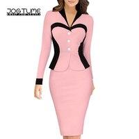 Amoyblue 2017 Women S False Slim Pencil Suits Dress High Quality Long Sleeved Elastic Fasion Ladies