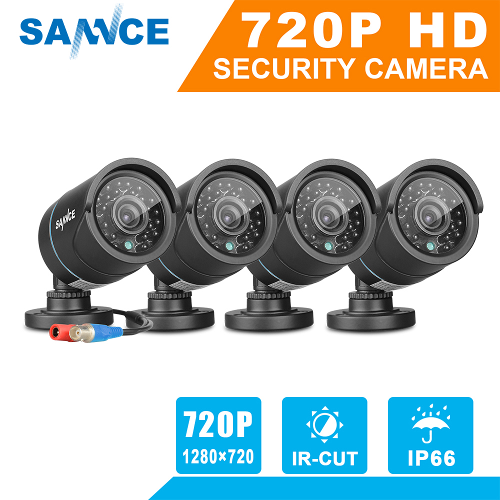 SANNCE 4PCS 1 0MP 720P TVI Security Cameras Indoor Outdoor IR Night Vision CCTV Surveillance Security