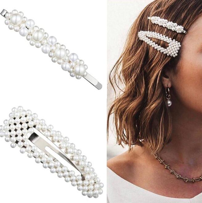 2PCS Set Fashion Women Pearl Hair Clip Hairband Comb Bobby Pin Barrette Hairpin