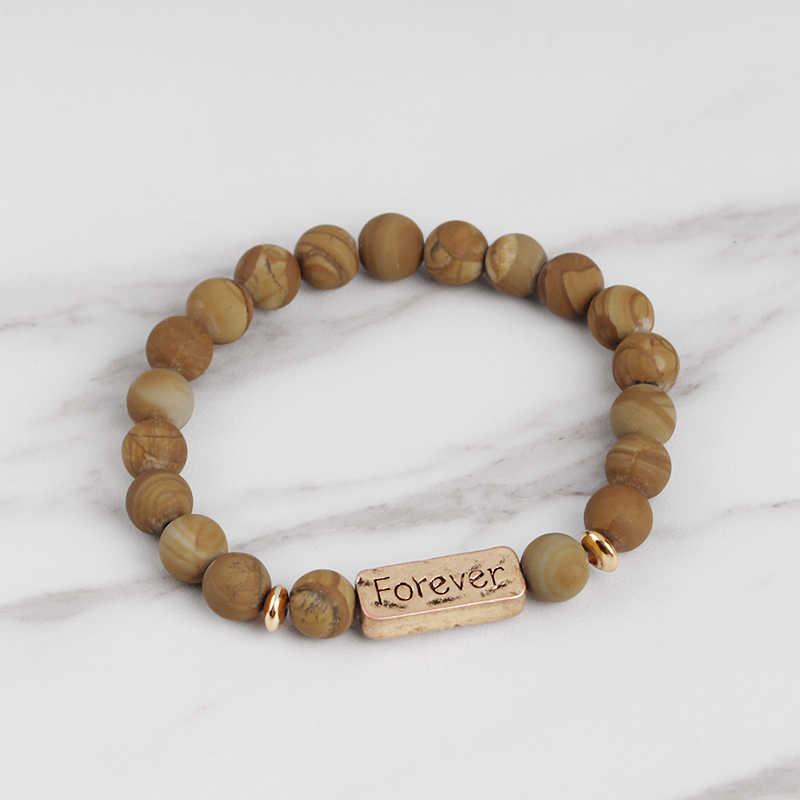 Женские и мужские браслеты с буквами, винтажные натуральные камни, браслет с бусинами, Панк вдохновляющие браслеты Forever Faith, ювелирные изделия ручной работы