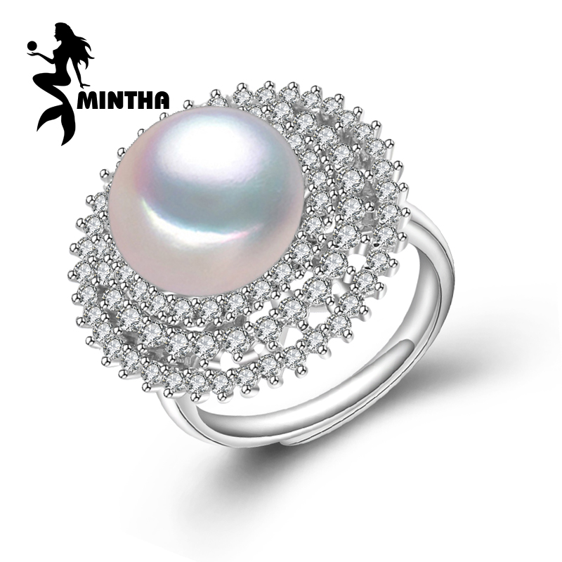 MINTHA Pearl punk Rings White Freshwater Pearl Solid 925 Sterling Silver Ring For Women Fine Jewelry engagement wedding rings цена
