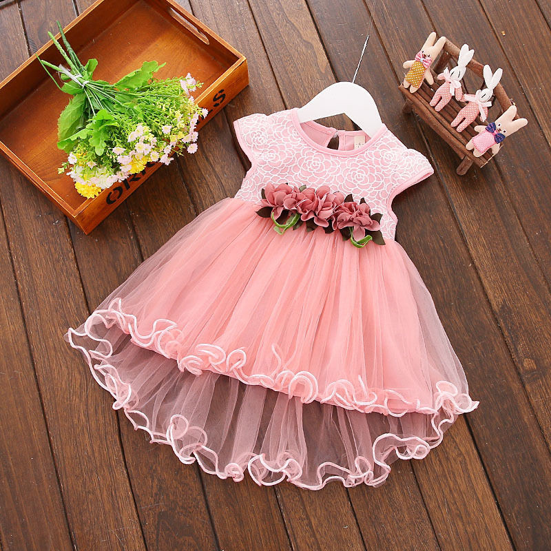 2017 New Arrival Summer Dress Lace Floral Princess Dress Children Girls Party Wedding Tulle Pleated Dresses 0-3Y box pleated floral jacquard satin cami dress