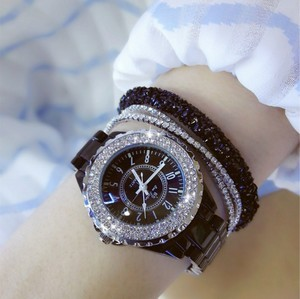 Image 5 - נשים ריינסטון שעונים ליידי יהלומי אבן שמלת שעון שחור לבן קרמיקה גדול חיוג צמיד שעוני יד גבירותיי קריסטל שעון
