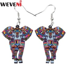 WEVENI Unique Design Acrylic Drop Dangle Big Long Elephant Earrings For Women New Fashion Animal Jewelry Girl Accessories