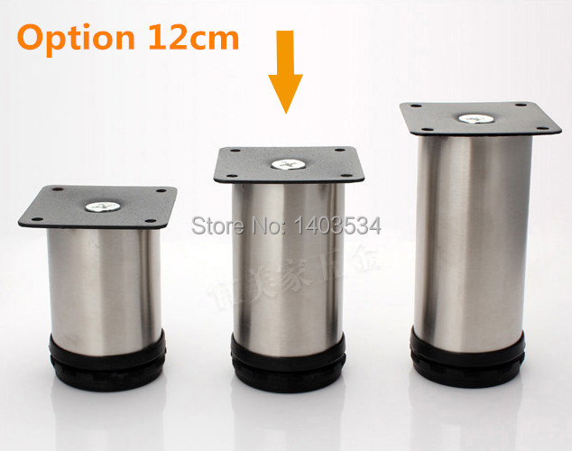 1 Pair 12cm height Stainless Steel cabinet leg sofa leg support Furniture Caster