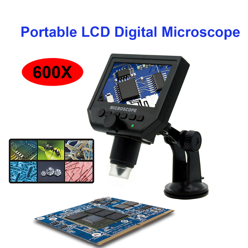 8 LED Digital Electronic Microscope High Definition Display Screen Portable with Bracket Household Tool USB Charging portable microscope digital microscoop standaard led light with stand mikroskop microscopio