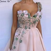 newest Long Pink Formal Evening Party Prom Gown Dress flower Gowns Dresses Gala Jurken 2018 BLA6512
