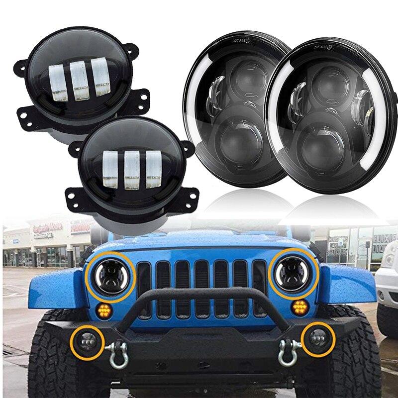 7 pollice LED Fari Halo + 4 pollice LED Luce di Nebbia DRL Combo Kit Per for Jeep Wrangler JK 2007 2017