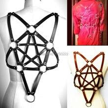 Cool Unisex Men Women Dark Leather Harness Star Pentacle Pentagram Rivet Handmade UnderBust Bondage Cage Sculpting Belt Strap