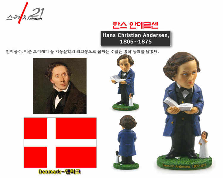 Hand-made Resin Crafts World Celebrities Denmark Hans Christian Andersen Home Office Decoration Great Collection
