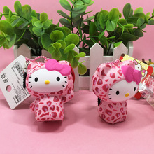 1pc Cute Leopard Hello Kitty Squishy Doll kawaii Squishys Retail Cellphone Charm Stess release Toys Licensed Squishies Tag #324