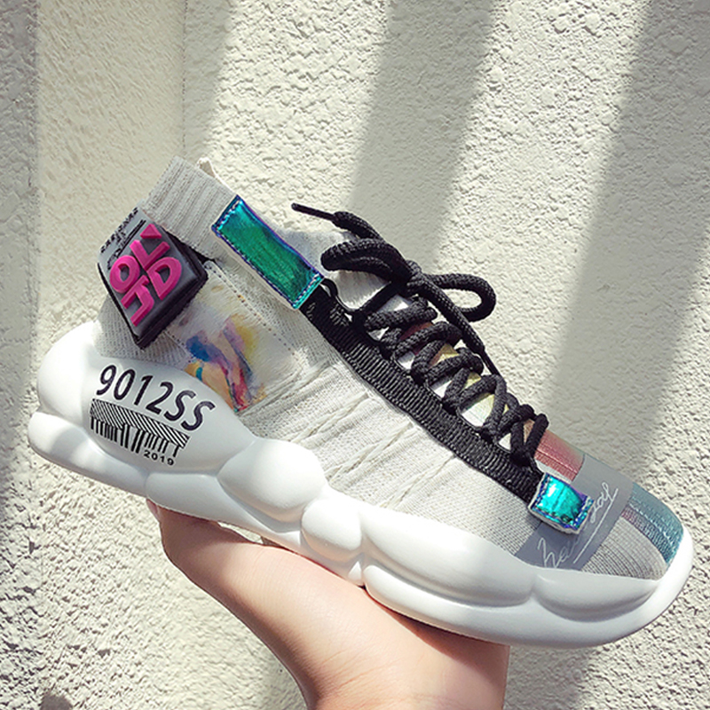 Women Chunky Street Sneakers Knit Thick Soled Lightweight Women's Sneaker 2019 Krasovki Breathable Woman Flats Shoes Footwear