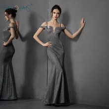 Shiny Grey Evening Dress 2019 Off the Shoulder Mermaid Evening Gown Glitter Formal Prom Party Gown Robe de Soiree NE75