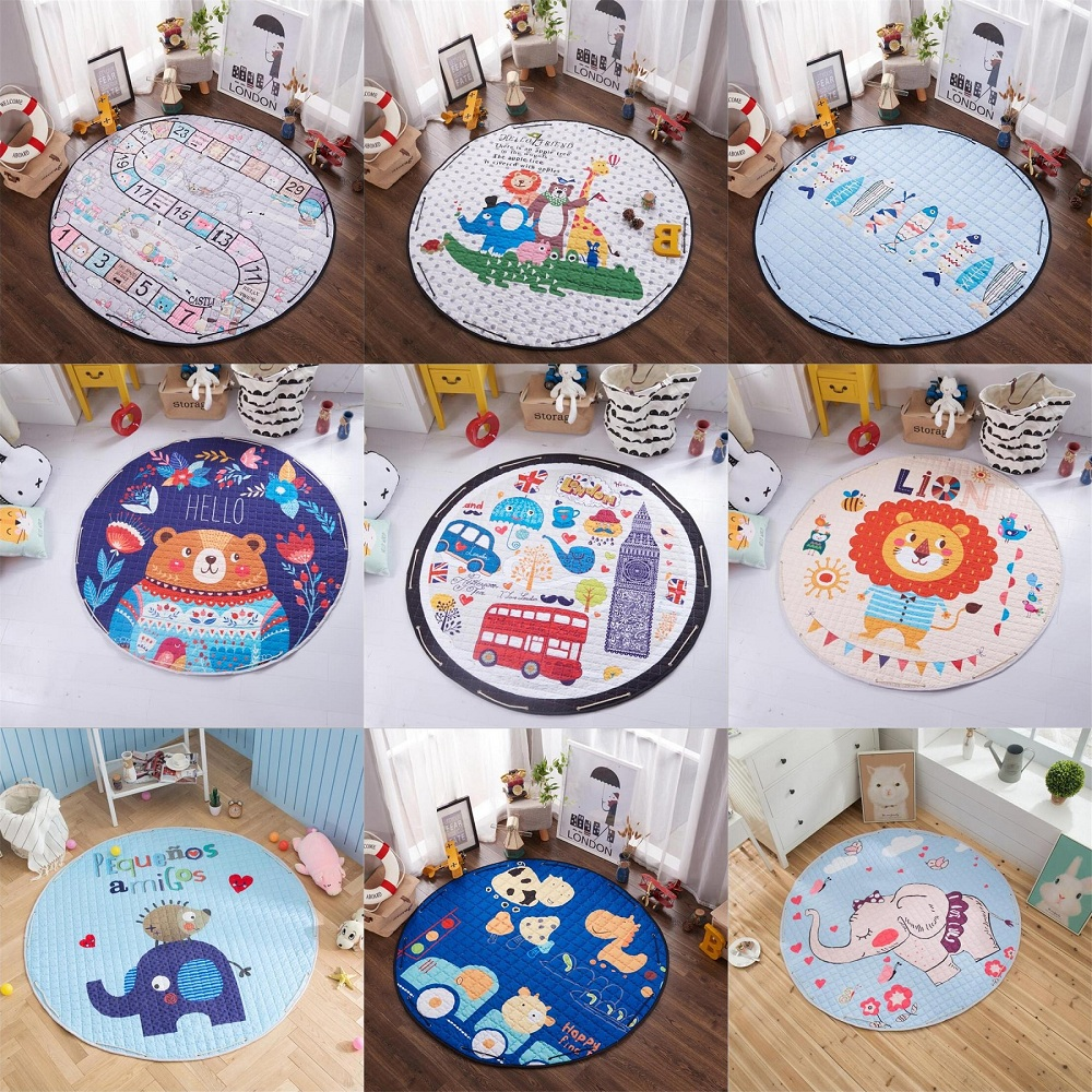 Animal Bear Fox Lion Cartoon Pattern Baby Play Mats Nonskid Crawling Carpet Blanket Kids Toys Storage Bag Room Decor Photo Props | Happy Baby Mama
