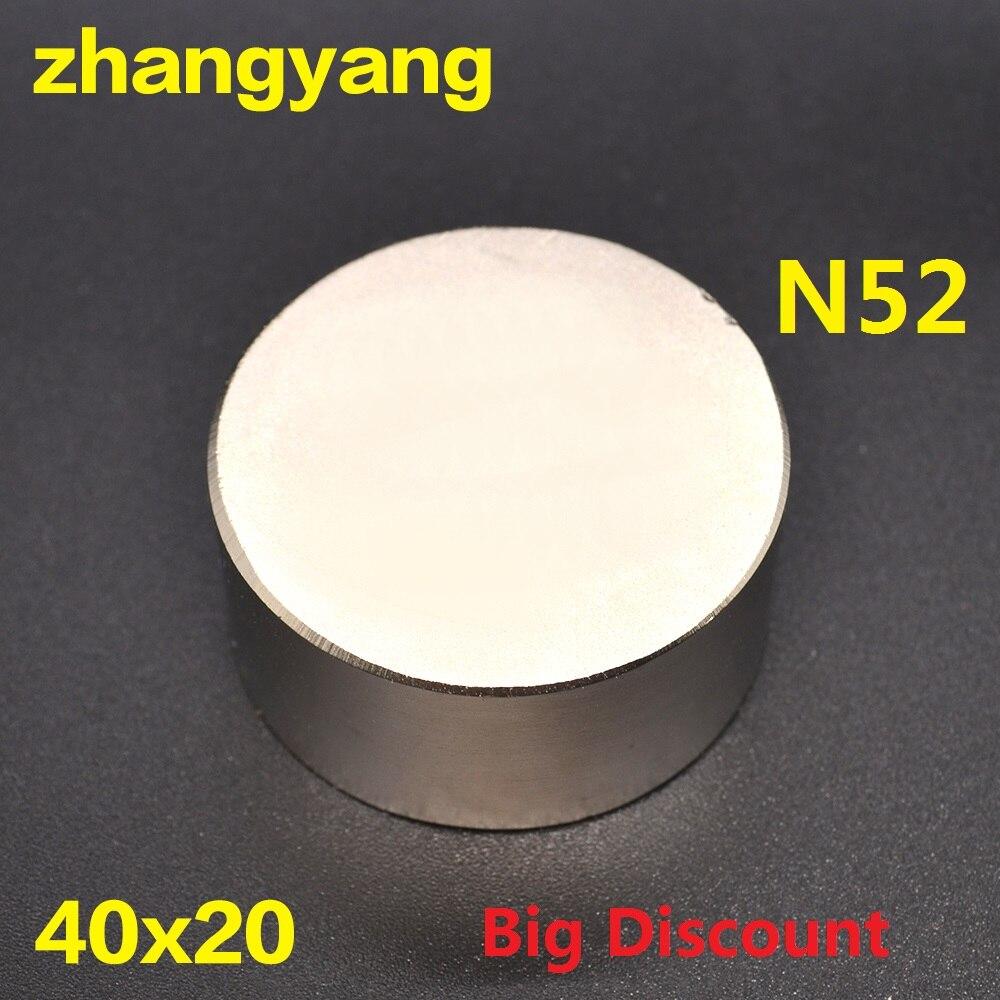Envío gratis 1 imán caliente 40x20mm N52 imanes fuertes redondos potente imán de neodimio 40x20mm metal magnético 40*20
