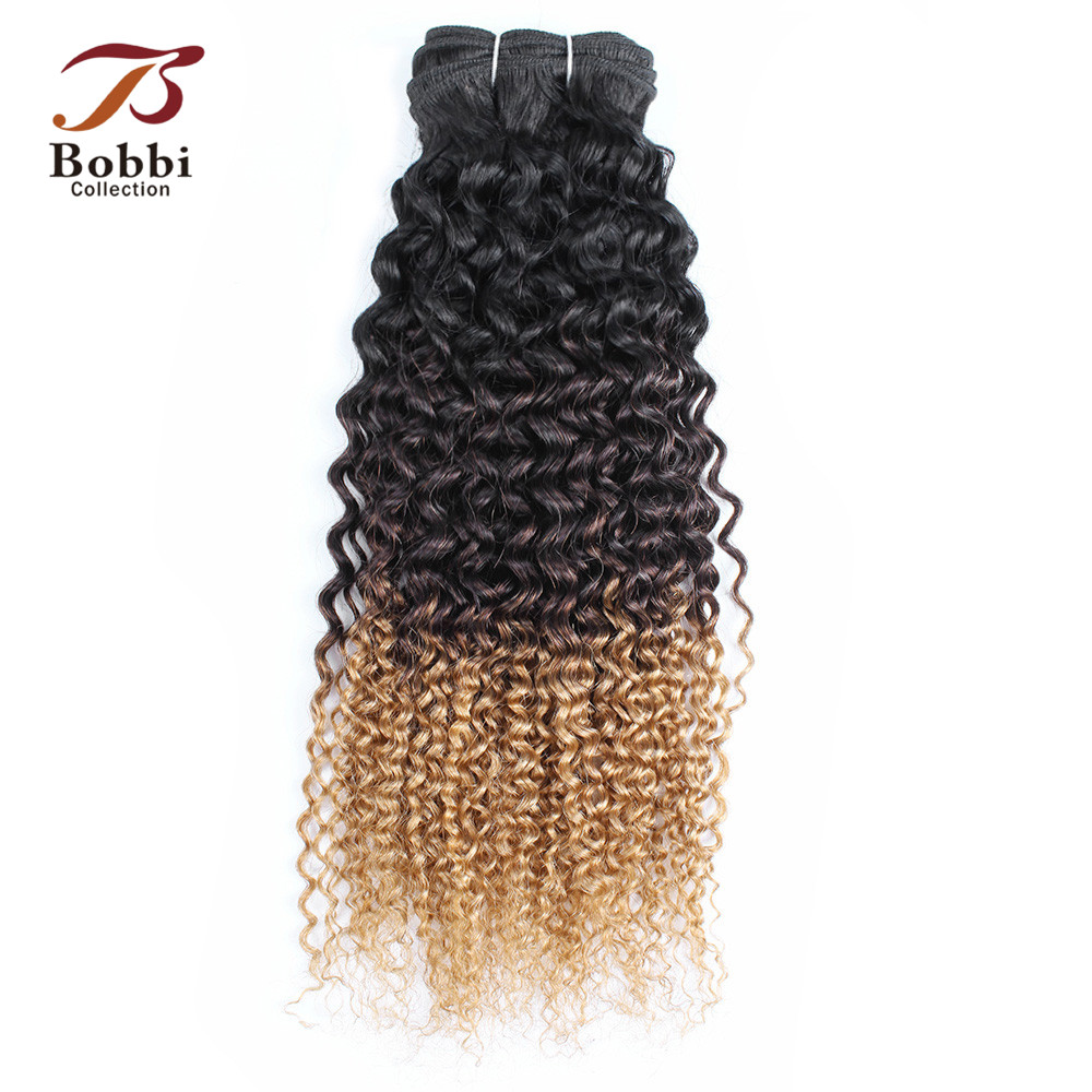 Bobbi Collection Jerry Curly T 1B 4 27 Dark Root Brown Honey Blonde 1 Bundle Ombre Non-Remy Human Hair Weave Brazilian Hair