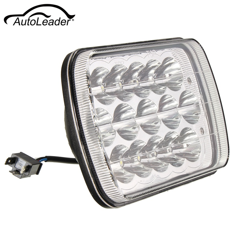 7x6 Inch 15 LED Light Bulbs Crystal Clear Sealed HI/LO Beam Lamp Headlight 45W For Jeep/Wrangler YJ Cherokee XJ