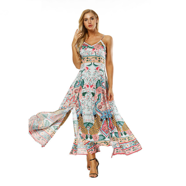 2018 Fashion hawaii Dress vestido Classic Print Maxi Summer Dress Beach  Clothes Long Beach Bohemian Sexy 3a2d776f6be5