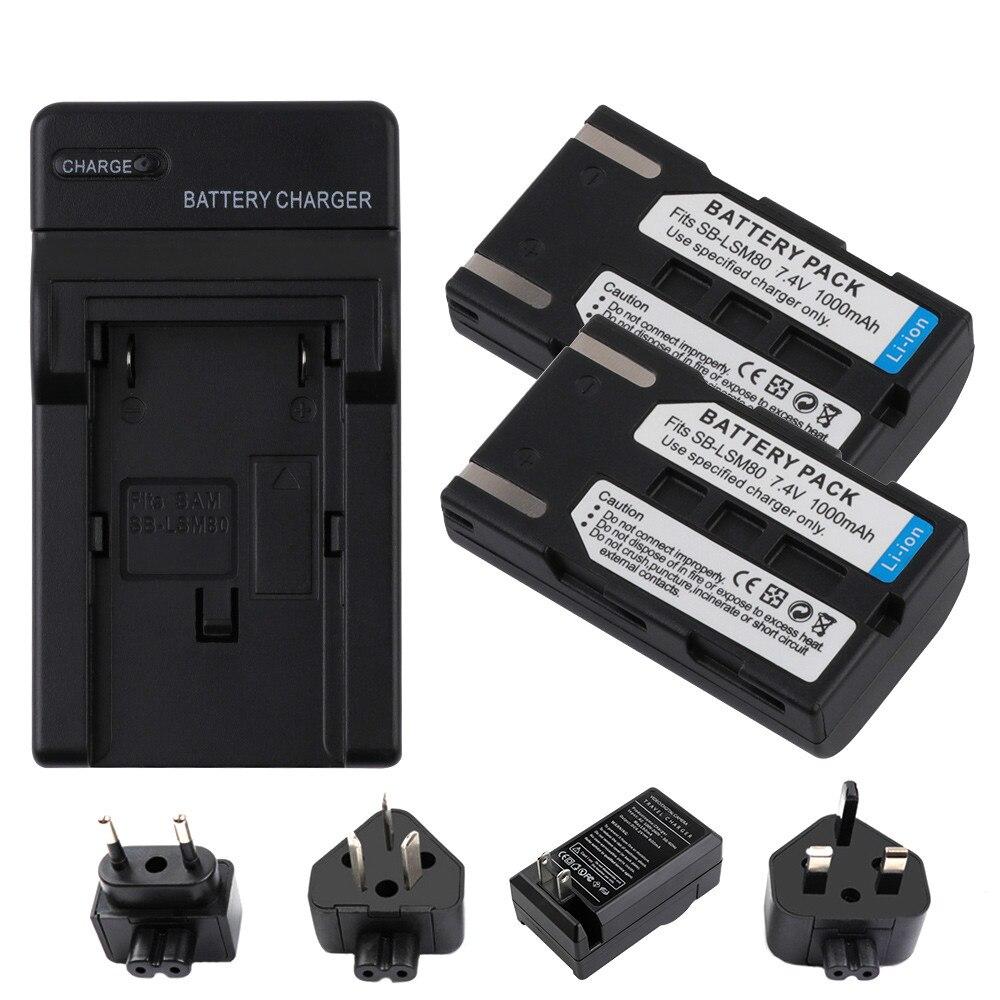 1000mAh SB-LSM80 SB LSM80 Replacement Spare Battery Batteria For Samsung VP DC161 DC163 DC165WB DC565WBi DC563i SC-D351 SC-D353