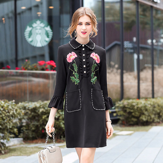 Floral Embroidery Black Dress
