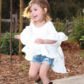 INS Hot New 2017 Meninas Vestem a Roupa Dos Miúdos Estilo de Fadas Livre de rugas Ruffles Algodão Três Mangas Trimestre Casual Crianças Menina vestido