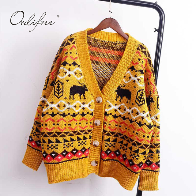 50ab77f6fc07c2 Ordifree 2019 Autumn Winter Christmas Sweater Jumper Vintage Knitted  Cardigan White Yellow Women Cardigan Pull Femme