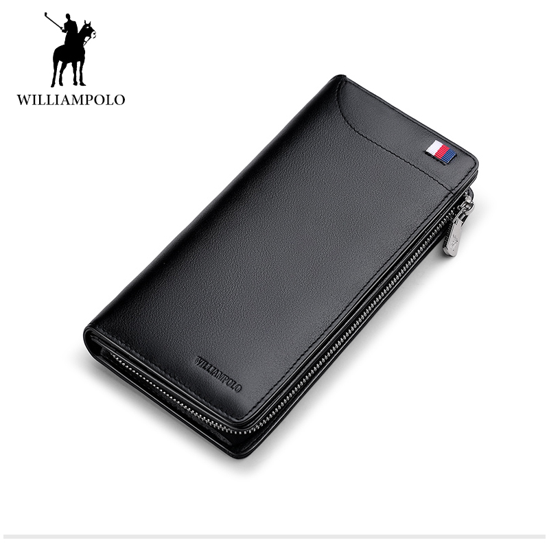 WILLIAMPOLO 2017 Genuine Cow Leather Men's Casual Wallet with Card Holder Men Long Purse Christmas Gift Male Billfold POLO301 williampolo 2017 card wallet men 10 card slots genuine leather button closure fashion long men wallet polo174