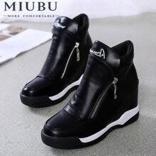 MIUBU Height Increasing Womens Platform Sneakers Tenis Feminino Flat Black Shoes Woman Zapatillas Mujer Casual Sapato