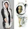 Faux Fur Winter Hat Animal Wolf Hood Scarf Hat Glove Set Ladies Girls Mens Hoods Scarf 5 Style Free Shipping